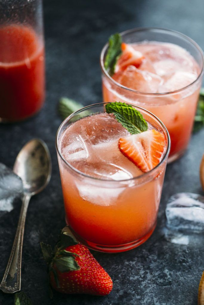 This sweet and fruity Strawberry Grapefruit Shrub is made with minimal ingredients like grapefruit & mint leaves and is a refreshing nonalcoholic drink!