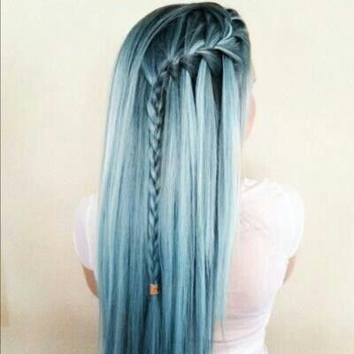 Blue pastel hair with waterfall braid... Want(: