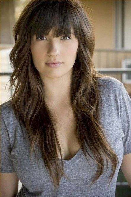 Long Hairstyles Country Long Choppy Hairstyles With Bangs And Layers For Natural Wavy Brunette Hair Long Choppy Hairstyles for Modern Women 2016