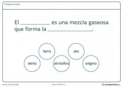 Ficha de los gases y el aire para primaria