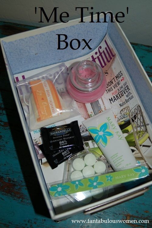 My 'Me Time' Box. Make time for yourself! Check out my post about it on FanTABulousWomen.com Favorite magazine, candle, bath tea, good chocolate, foot soak and body scrub.: Body Scrubs, Candle, Chocolate, Foot Soak, Post, Selfcare, Favorite Magazine, Metime Metimebox, Bath Tea