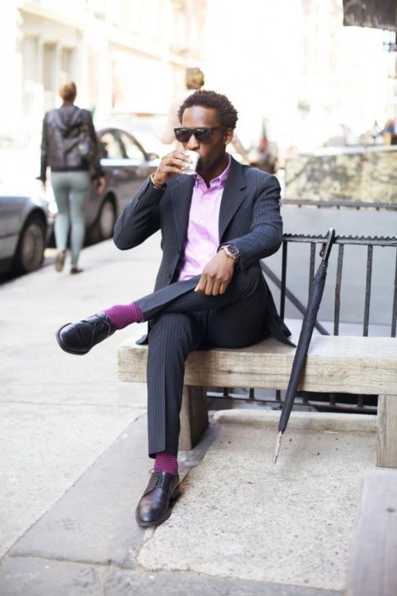 Vertical Stripe Suit, Horizontal Stripe Socks Dapper Black Man