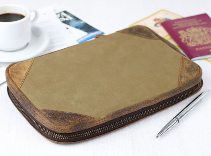 Our khaki canvas travel organiser will carry all travel documents for you, family, partners or friends.  If you're in charge of family documents while travelling, this will make life much easier! #vintage #canvas #giftsforhim