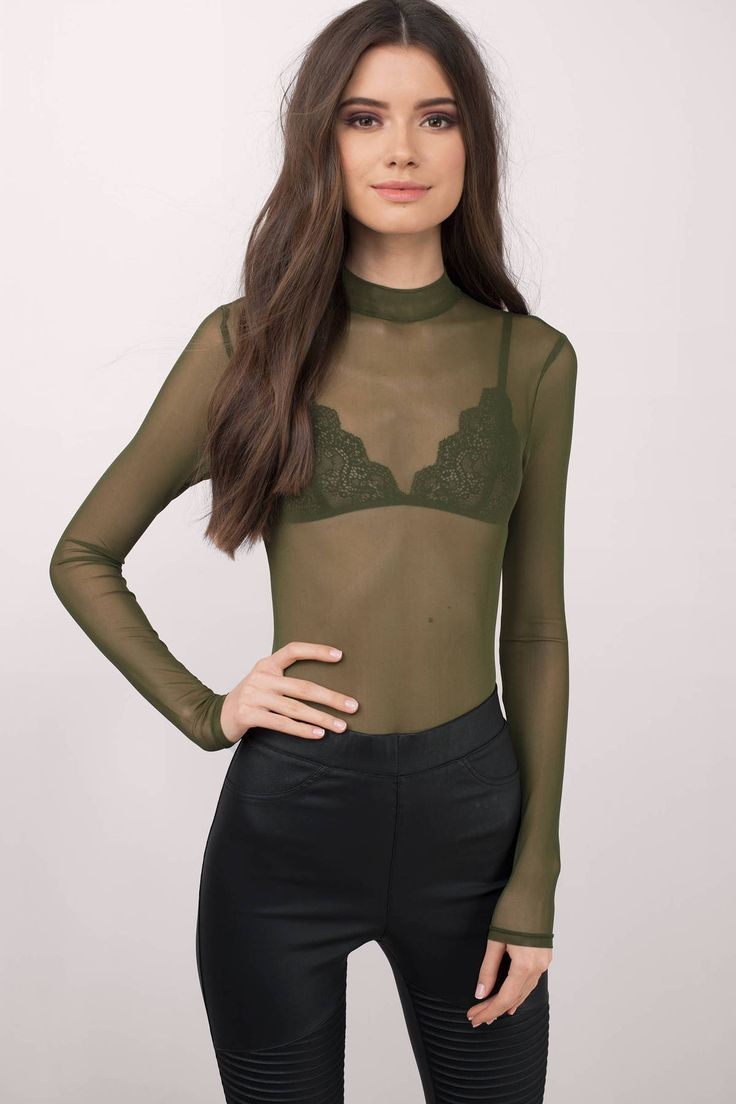 Easy does it in the Mesh Is More Mock Neck Bodysuit. Featuring minimal, chic look. Wear with high waisted bottoms and heels. - Fast & Free Shipping For All Orders!