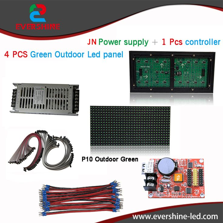 Outdoor sigle green led panel in P10 diy kits,4pcs Green color led display module+1pcs MW power supply+1pcs controller+all cable