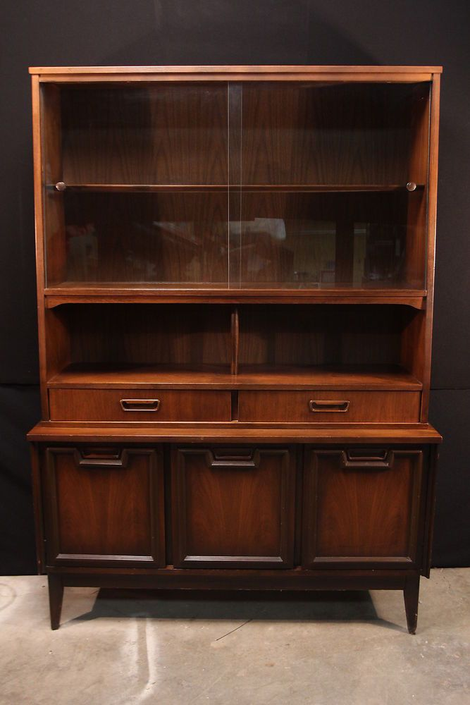 vintage mid century modern china cabinet hutch garrison furniture