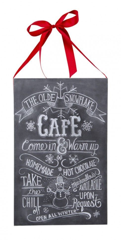 Snowflake Cafe Snowman Chalk Sign. Christmas Wall Hanging Decoration. THE OLDE SNOWFLAKE CAFÉ Come in & Warm up HOMEMADE HOT CHOCOLATE TAKE the CHILL off Marshmallows AVAILABLE UPON Request OPEN ALL WINTER.