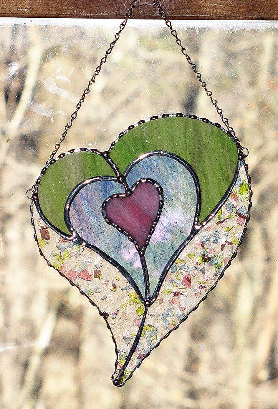 Suncatcher Stained Glass quatre coeurs dans un coeur par GLASSbits