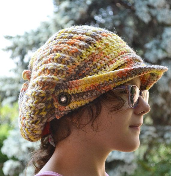 SALE 15% OFF  Crocheted  PEAKED Cap beanie Slouchy by DosiakStyle