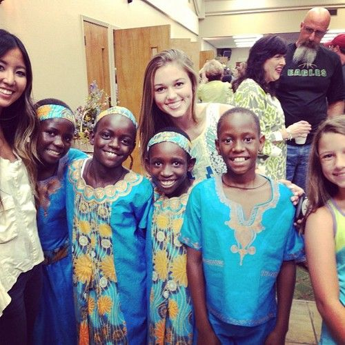 Daraja Children's Choir from Uganda with Sadie!! My parents housed the two middle girls this weekend. Such special girls!