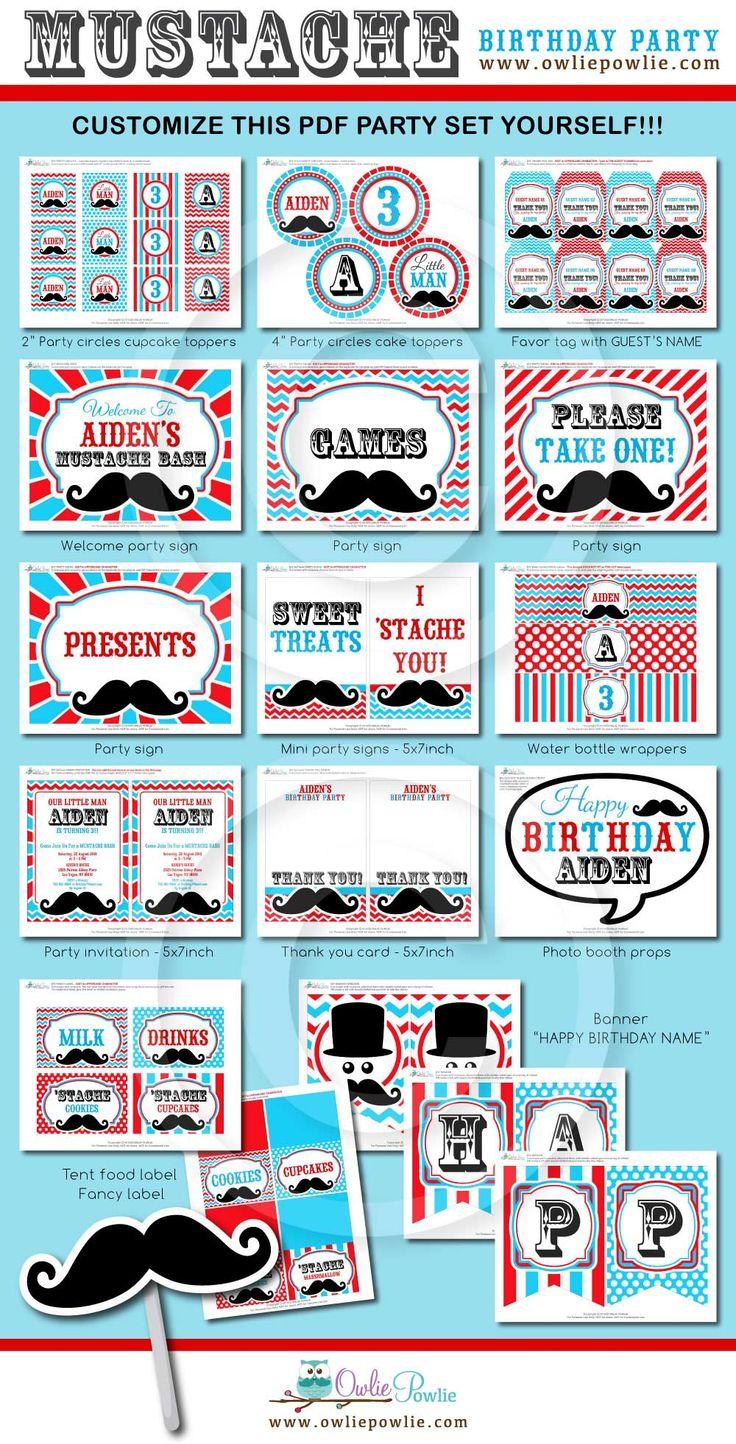 Little Man Mustache Bash Dessert table -Red & Blue Little Man Mustache Bash Birthday DIY Party at www.owliepowlie.com
