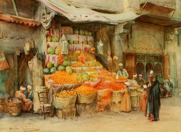 Tyndale, Walter (1855-1943) - An Artist in Egypt 1912, A fruit stall at Bulak. #egypt