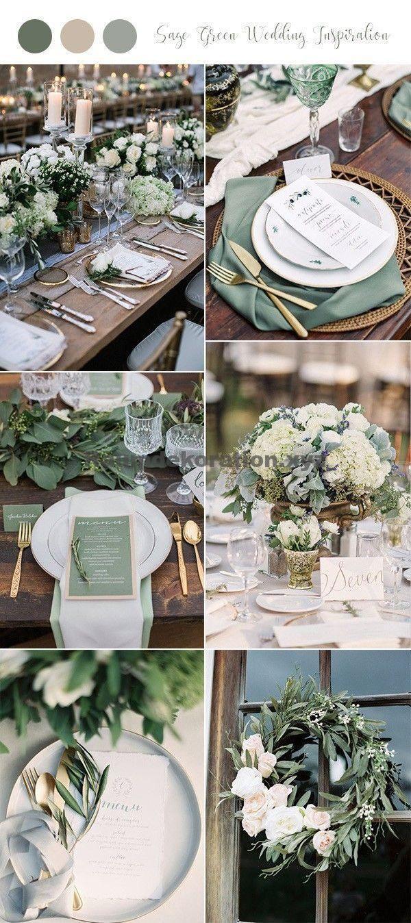 Decoración de la mesa de la boda – 30+ Ideas de boda verde salvia para las tendencias 2019 – Página 2 de 2