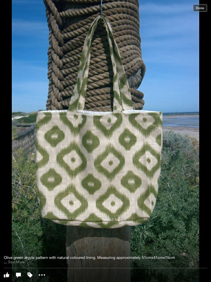 Jute bag - Olive green argyle Handmade fully lined bag in natural colour, complete with two internal pockets.  Approx 51x41x15cm  $30.00 each