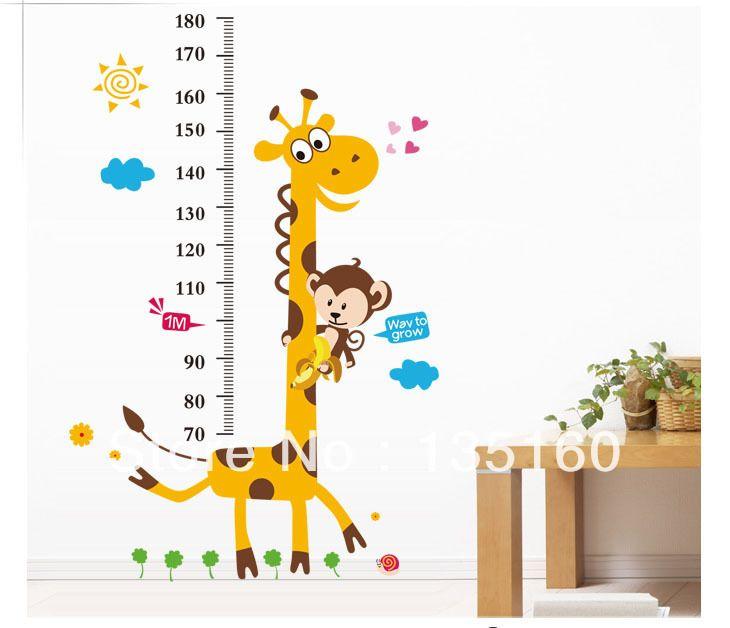 Мультфильм высота наклейки ребенок высота правитель наклейка пвх стены стикеры Съемный ПВХ Мультфильм расти меру для детской комнаты декор