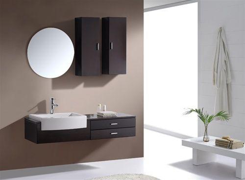 """Kube Esile 48"""" Modern Wall Mount Bathroom Vanity Set - Black Walnut"""