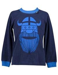 Donkerblauw longsleeve shirt met lichtblauwe viking - Danefae