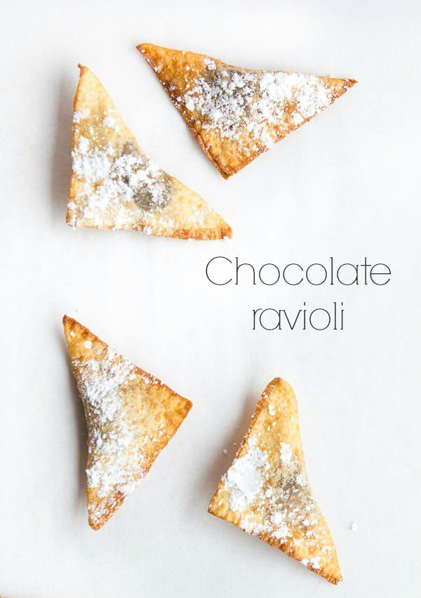 chocolate ravioli made with nutella amd wonton wrappers these looks so yummy and they are really easy to make!