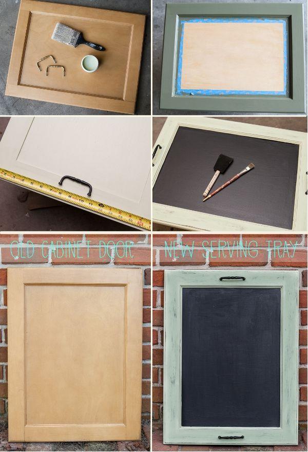 Recicla la vieja puerta de tu gabinete; conviértela en una linda y original bandeja