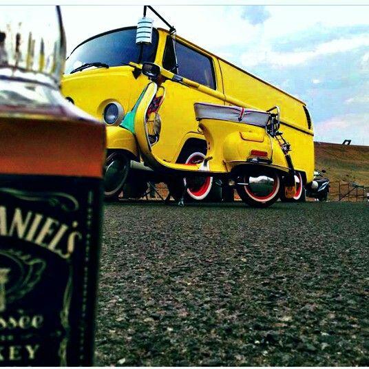 VW kombi and Vespa smallframe with Jack Daniel's