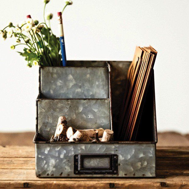 Farmhouse organization.  Add a little rustic farmhouse to your home office.  Also a great farmhouse charging station.  Lots of possibilities.  (affiliate)