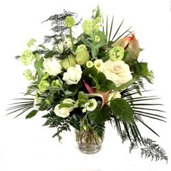 Creams Greens and Whites Flower Bouquet Hand Tied
