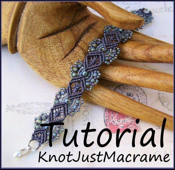 Hydrangea Micro macrame bracelet tutorial by Knot Just Macrame