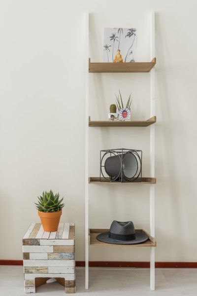 Nina's white wooden shelves with the Bowie Floor Lamp and a cool cactus. | MADE.COM/Unboxed