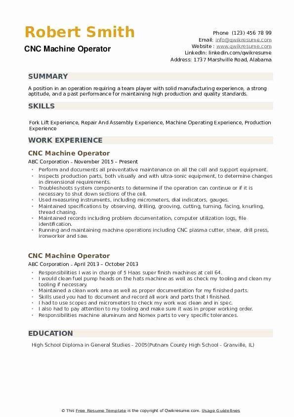 Machine Operator Resume Example Lovely Cnc Machine Operator Resume Samples In 2020 Good Resume Examples Job Resume Examples Sales Resume Examples