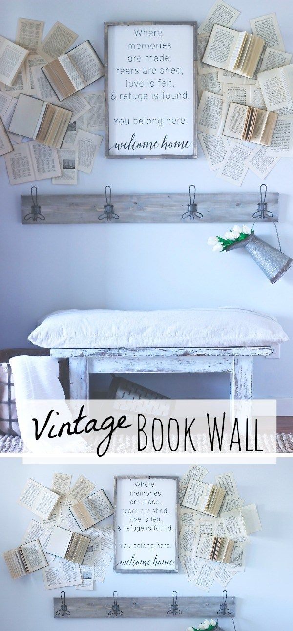 Vintage Book Wall, My Farmhouse Wall Decor, Inspired by Cotton Stem Ineriors www.theruggedrooster.com