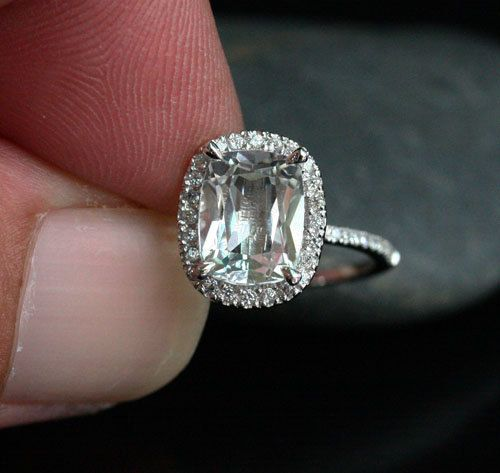 14k White Gold 9x7mm White Topaz Cushion Halo and Diamonds Wedding or Engagement Ring (Choose color and size options at checkout)