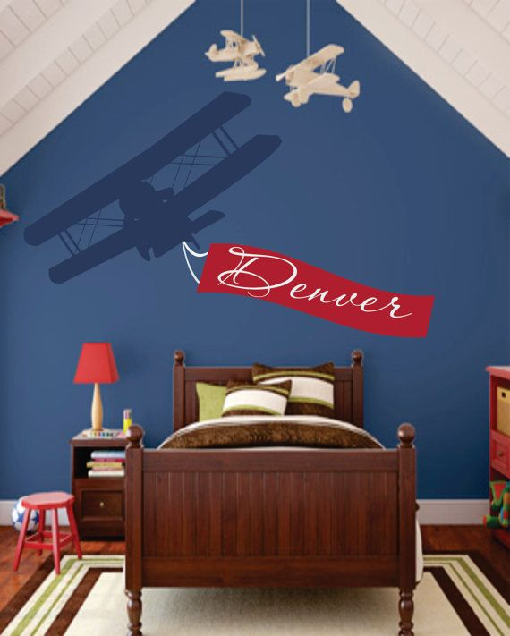 "Airplane Name Decal - Initial and Name vinyl Monogram Wall Lettering for Baby Boy or Girl Nursery Plane 22""H x 36""W via Etsy"