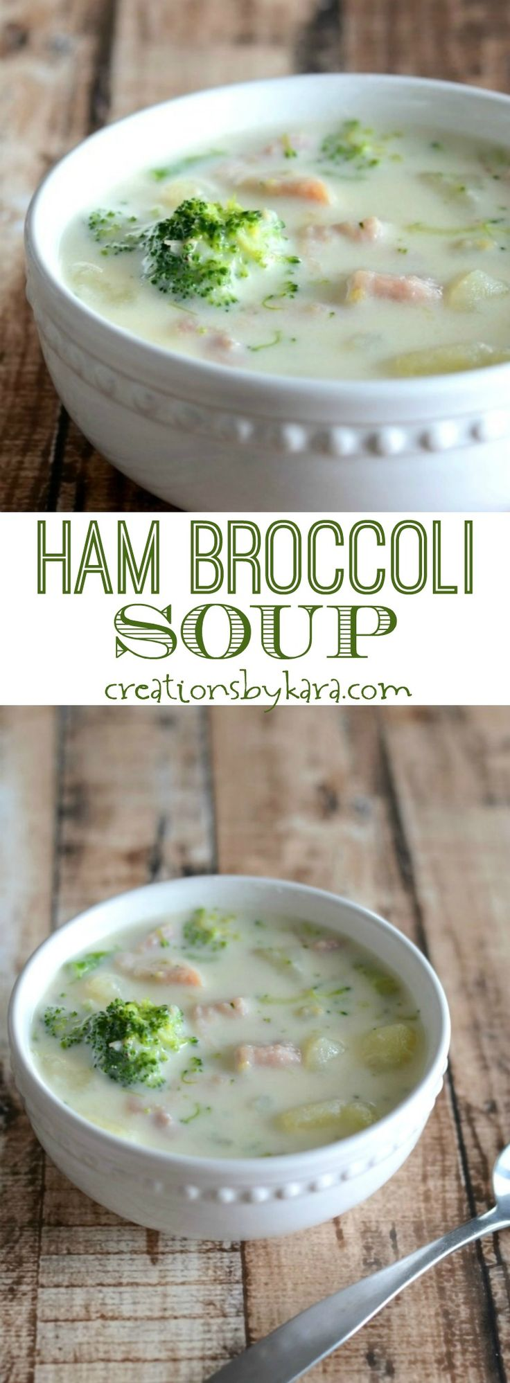 Hearty and delicious Ham Broccoli Soup- a perfect soup recipe to warm you up! With ham, broccoli, potatoes, and Swiss cheese, this soup is hearty and delicious.