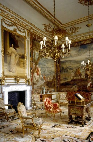 "The First State Room at Blenheim Palace. More Belgian tapestries depict Marborough's military victories in the first of three ""state"" rooms that connect the Saloon to the Long Library."