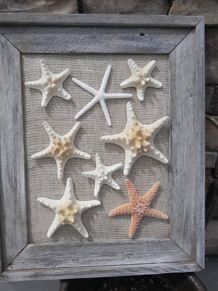 Old wood, burlap and starfish... Great combination! Could I do this withs Sand dollars???