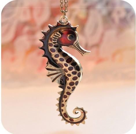 This seahorse necklace is made of zinc alloy, painted to give it a retro look. Part of our Animal Instincts Collection.