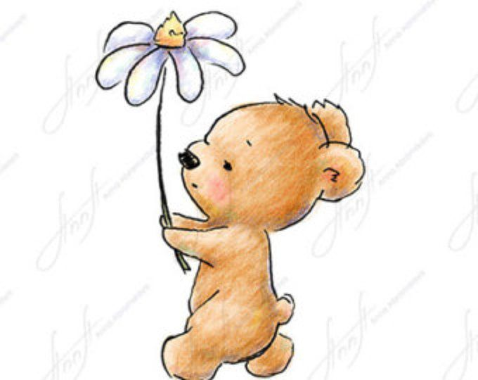The Drawing Of Cute Teddy Bear With With Daisy Printable Art Etsy Teddy Bear Drawing Cute Bear Drawings Bear Drawing