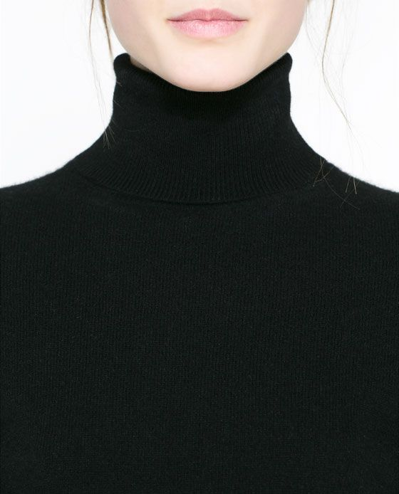 Basic + black + turtleneck  Zara