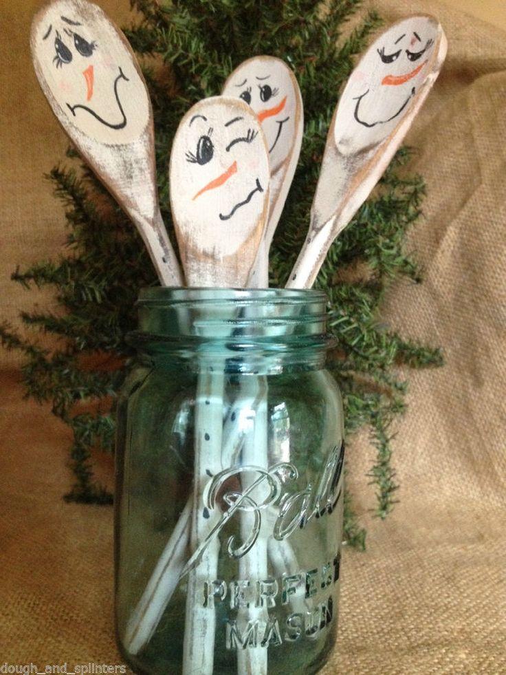 4 Primitive Country Christmas Snowman Snowmen Wood Utensil Crock Jar Fillers #NaivePrimitive