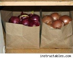 brown paper bags make good, cheap storage for potatoes, onions, garlic & storage. make holes in the sides of the bags for air circulation