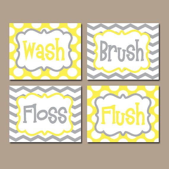 Yellow Gray Bathroom Rules Wall Art CANVAS or Prints Boy Girl Yellow Gray Wash Brush Floss Flush Choose Colors Chevron Polka Dots Set of 4