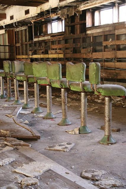 Abandoned bar at Grossinger's Catskill Resort Hotel, a resort in the Catskill Mountains in the Town of Liberty, near the village of Liberty, New York.