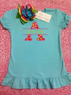 Personalized appliqué name shirt and matching hair bow