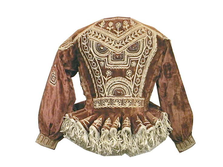 thedesigncenter: I'd wear this. Back view of Peruvian jacket from Lake Titicaca region. Cotton velvet with sequins and cotton embroidery and fringe. Early 20th century.