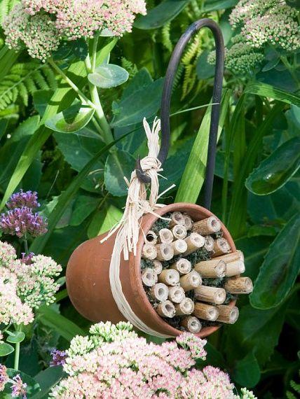 Snyggt och enkelt insektshotell bygger du av en kruka och några bambupinnar