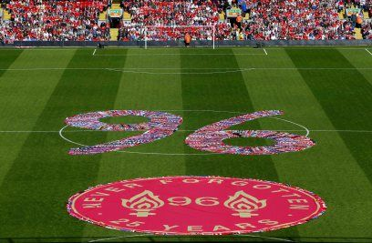Tributes at Liverpool's Anfield stadium to mark the 25th anniversary of the Hillsborough disaster, England