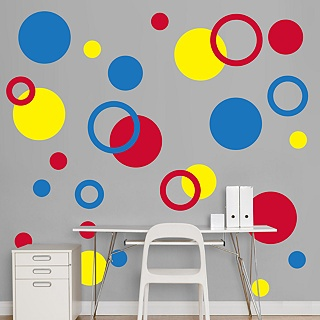 Red, Yellow & Blue Polka Dot Wall