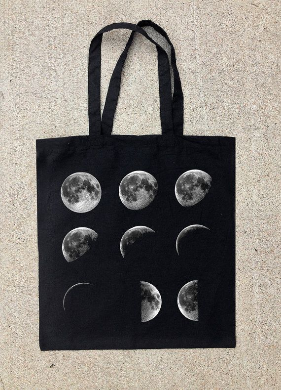 Black Cotton Canvas Tote Bag  Moon Phases por CrawlspaceStudios