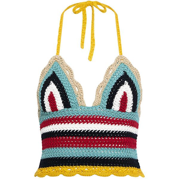 Red Valentino - Rainbow Wave Crochet Tank ($350) ❤ liked on Polyvore featuring tops, white tank, rainbow crop top, crop tank, crochet tank and crochet top