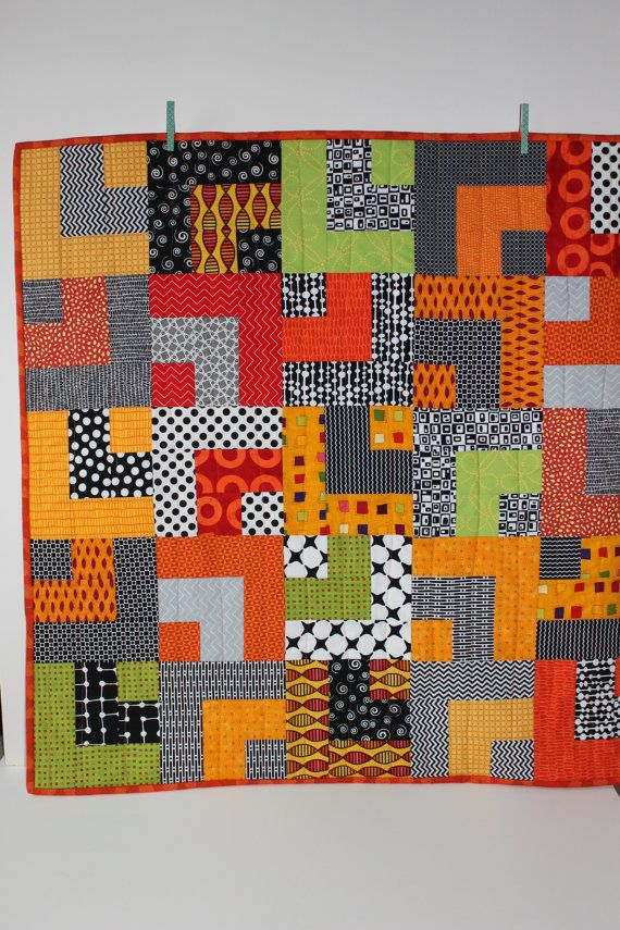 """Modern Baby Quilt """"William""""; Orange, Yellow; Lime; Contemporary; Geometric Pattern; Baby Quilt; Lap Quilt, Play Mat, Wall Hanging"""